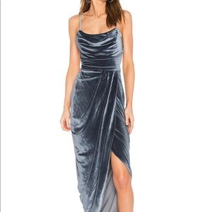 VELVET BLUE DRAPE DRESS